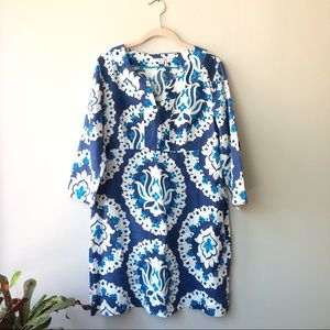 BODEN 100% Linen Floral 3/4 Sleeve Tunic Dress.